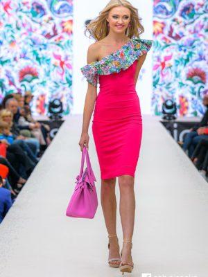 Šaty růžové pouzdrové s volánem