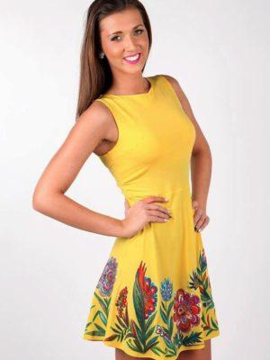 Šaty žluté s květy