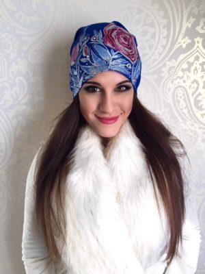 Čepice modrá zimní pohádka